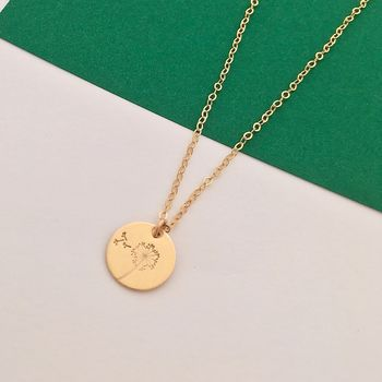 Botanical Gold Disc Necklace Dandelion