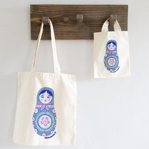 Russian Doll Mummy And Me Personalised Shopper Bag Set - clothing