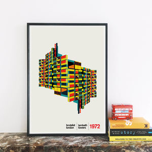 Lambeth Towers London Illustrated Art Print