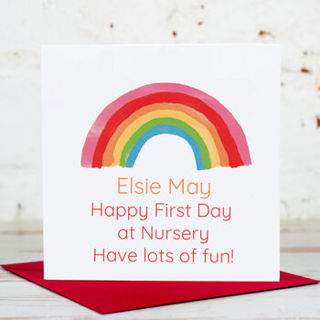 Personalised Rainbow First Day At Nursery School Card