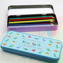 Personalised Dinosaur Print Pencil Case Tin
