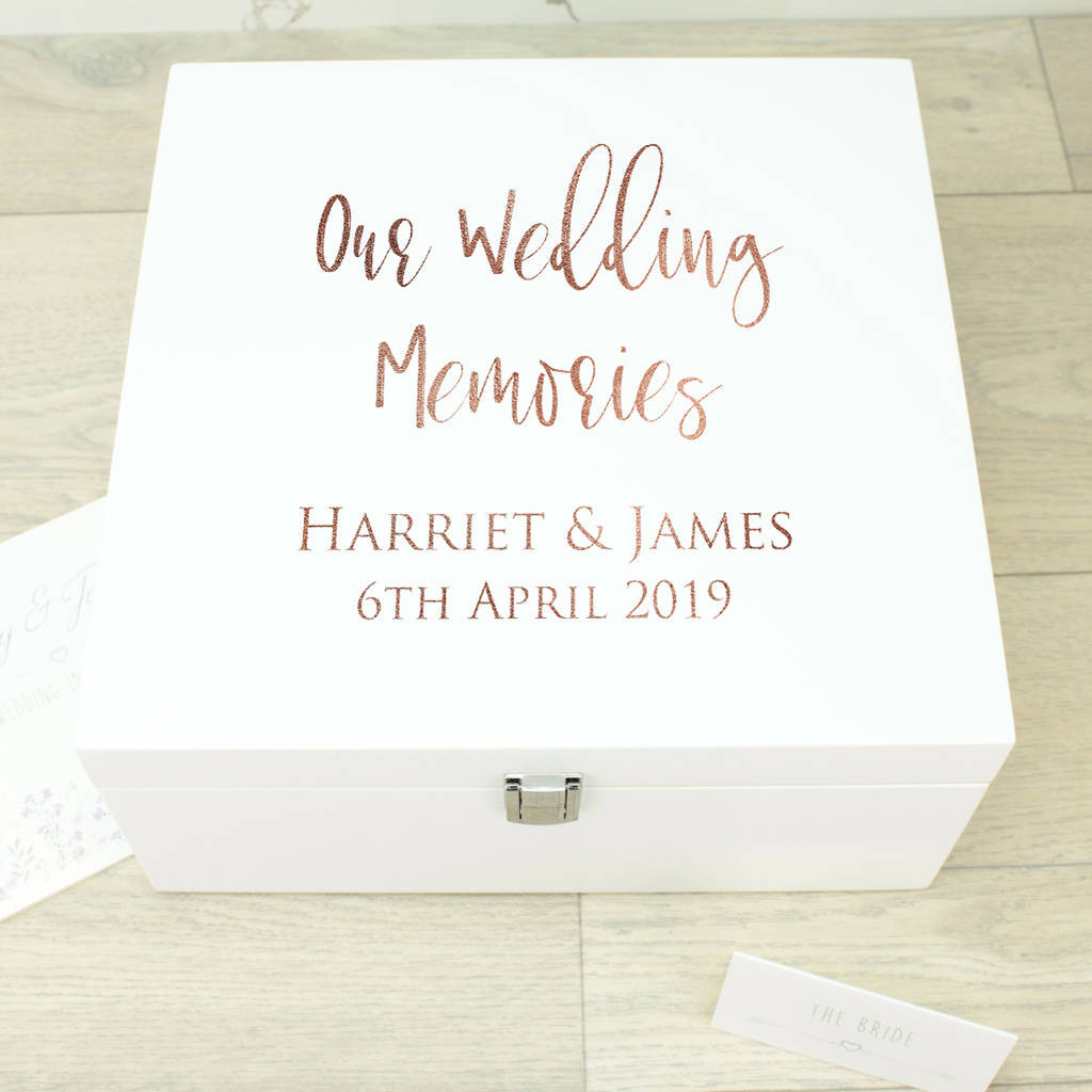 Large Rose Gold White Wooden Wedding Memory Box