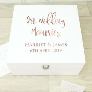 Large Rose Gold White Wooden Wedding Memory Box - keepsake boxes