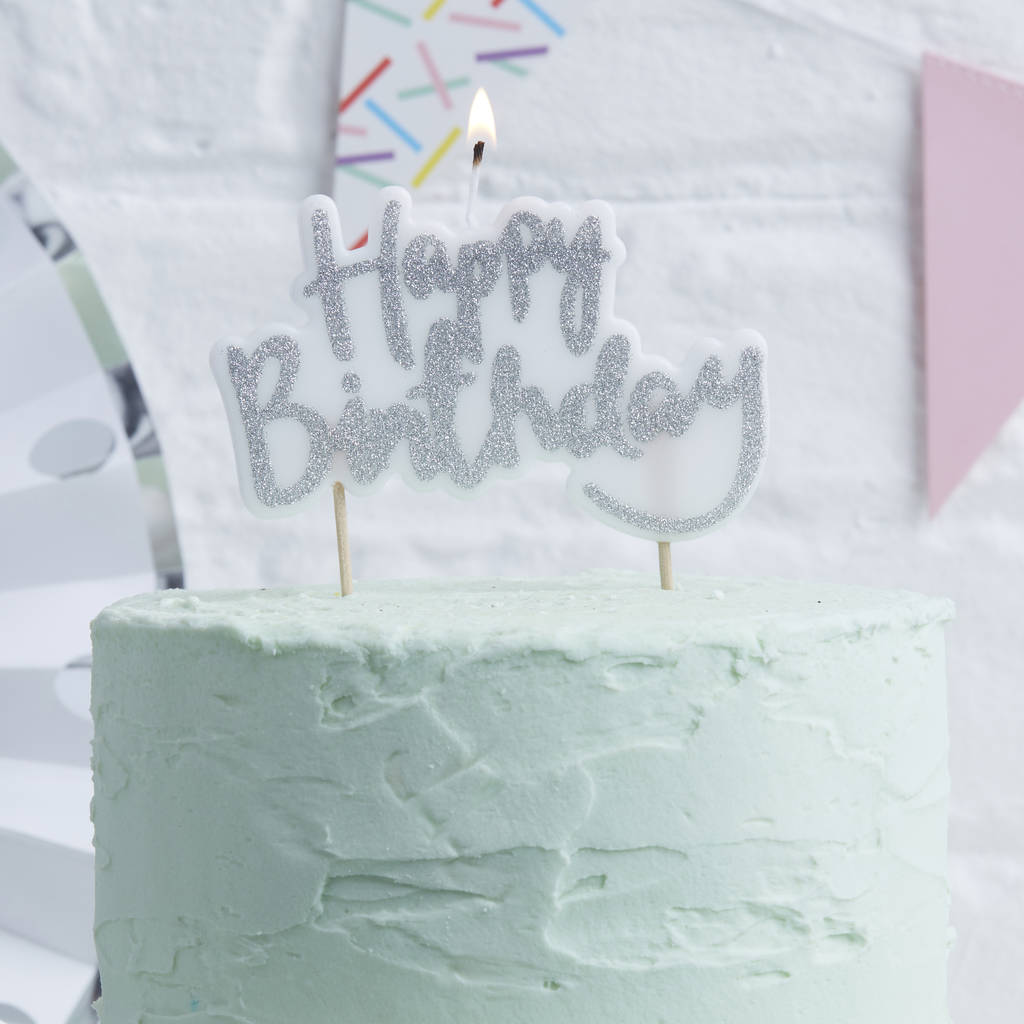 Silver Glitter Happy Birthday Cake Candle