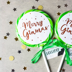 'Merry Ginmas' Christmas Gin And Elderflower Lollipop - chocolates & confectionery