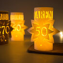 50th Personalised Birthday Star Lantern Centrepiece