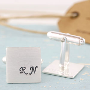 Personalised Silver Wedding Monogram Cufflinks - cufflinks