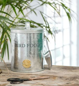 Galvanised Metal Bird Feed Storage Container