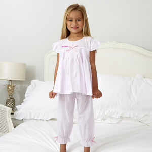 Girl's Pink Lilac Smocked Pyjamas