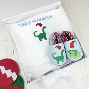 Personalised First Christmas Dinosaur Baby Gift Set