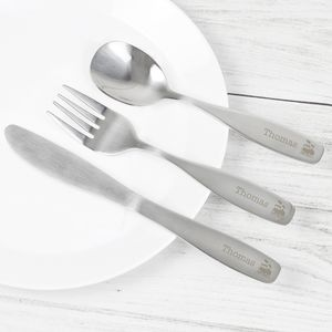 Personalised Three Piece Train Cutlery Set