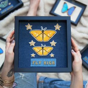 Framed Yellow Butterflies Embroidered Wall Art - mixed media & collage