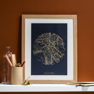 Metallic Personalised Map Print - engagement gifts