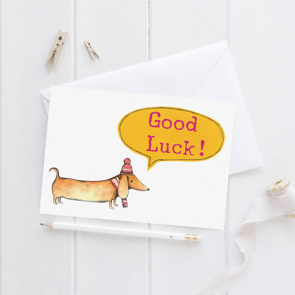 Good Luck Sausage Dog Greeting Card By Mary's House