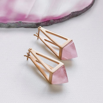 Rose Gold Drop Rose Quartz Pyramid Earrings