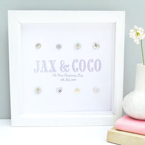 Personalised Twins Christening Cross Art - children's room