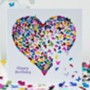 Happy Birthday Kaleidoscope Butterfly Heart Card