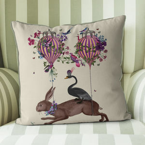 Hare And Hot Air Balloon Cushion - cushions