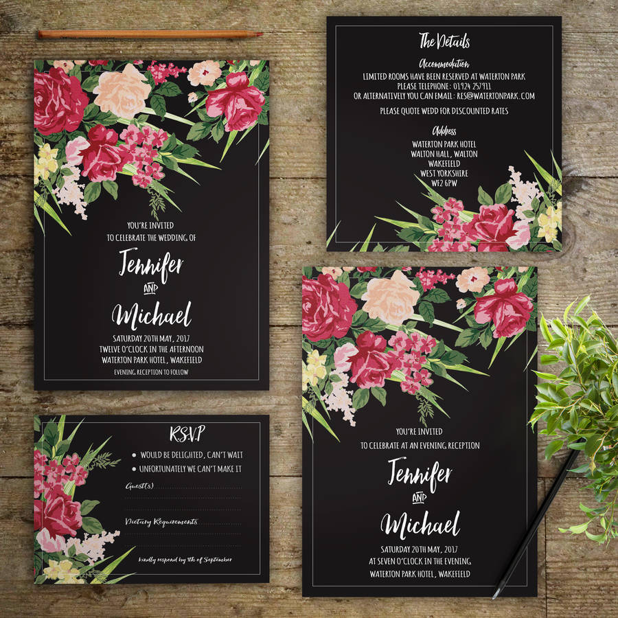 evening flowers wedding invitations by gray starling designs ...
