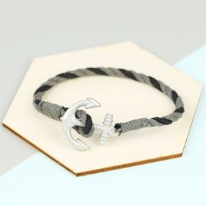 Men's Rope Bracelet With Antiqued Anchor Clasp - winter sale
