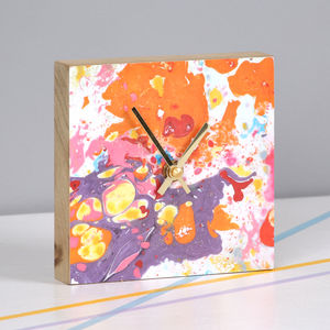 Square Wooden Marbled Wall Clock