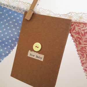 'New Baby' Porcelain Button Card