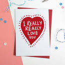 Heart Love You Valentines Card