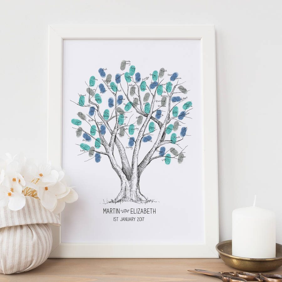 beech wedding fingerprint tree guest book by new forest print ...