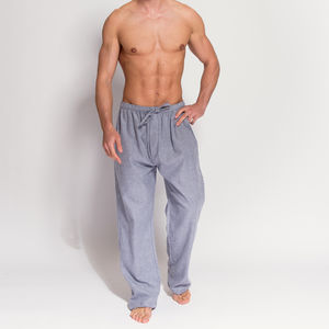 Men's Ash Grey Herringbone Flannel Pyjama Trousers - men's fashion
