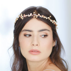 Amber Gold Floral Bridal Halo - tiaras & hair combs