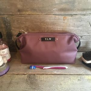Mauve Leather Personalised Toiletry Bag - make-up & wash bags