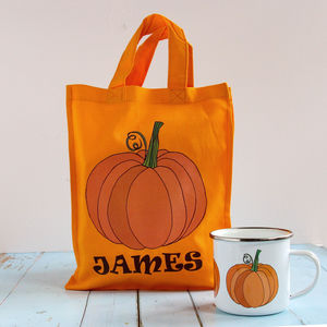 Personalised Halloween Pumpkin Trick Or Treat Bag - trick or treat bags
