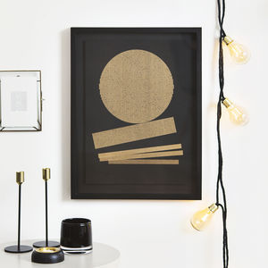 Abstract Geometric Gold Lines Print Three