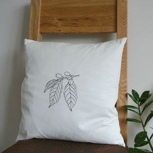 Coffee Lover's Gift. Botanical Art Cushion Cover - bedroom