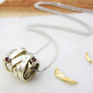 Personalised White Gold And Rubies Scroll - necklaces & pendants