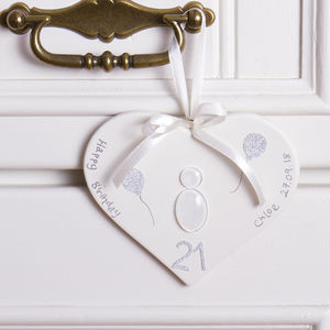 Personalised 'Celebration' Hanging Heart Decoration