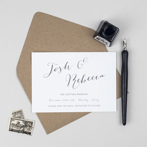 Elegant Calligraphy Wedding Save The Date Card