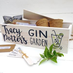 Personalised Gin Garden With Herb Seeds - pots & planters
