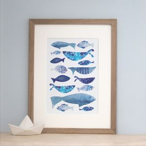 Blue Watercolour Fish Wall Art Print - children's pictures & paintings