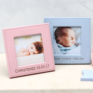 Personalised New Baby Leather Photo Frame