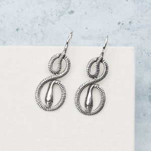 Detailed Coiled Snake Sterling Silver Earrings - earrings