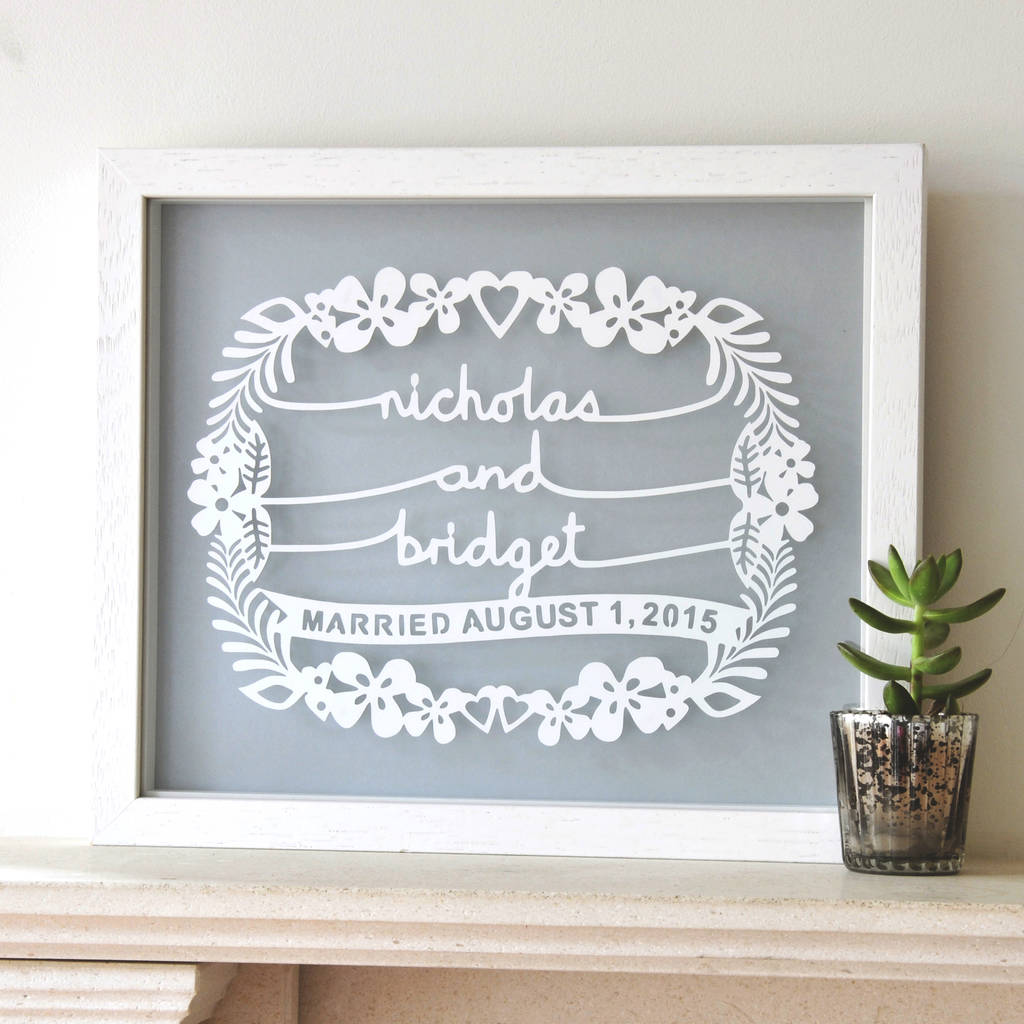 Personalised Wedding Gift Papercut Wall Art
