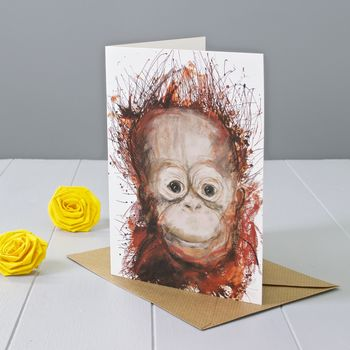 Orangutan Art Greeting Card