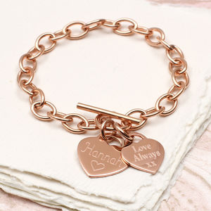 Personalised Rose Or Yellow Gold Charm Chain Bracelet - for sisters