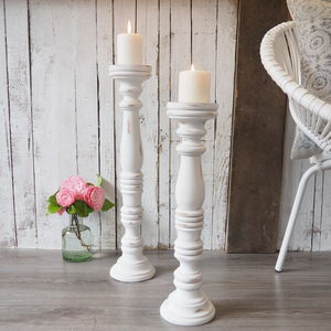 Tall White Wooden Candlestick Two Sizes - candlesticks
