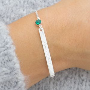 Personalised Birthstone Bar Bracelet - women's sale