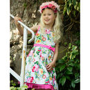 Pink Rose Print Flower Girls Occasion Party Dress