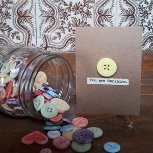 'You Are Sunshine' Porcelain Button Card - love & romance cards