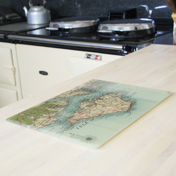 Personalised Map Glass Platter Or Chopping Board