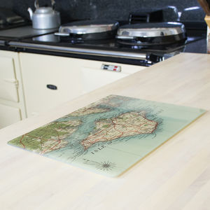 Personalised Map Glass Platter Or Chopping Board - tableware